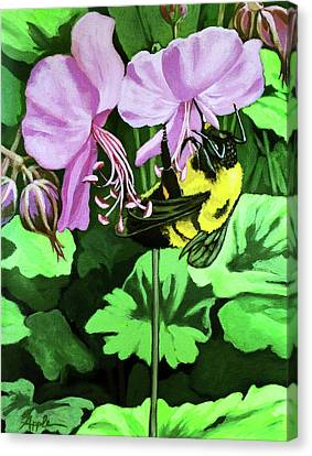 Canvas Print featuring the painting Summer Garden Bumblebee And Flowers Nature Painting by Linda Apple