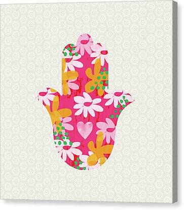 Summer Garden Hamsa- Art By Linda Woods Canvas Print