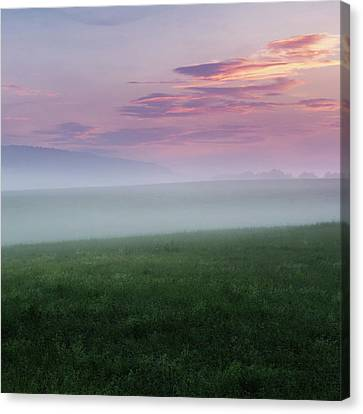 Summer Hills Sunrise Square Canvas Print