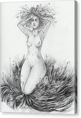 Canvas Print featuring the drawing Summer II by Anna  Duyunova