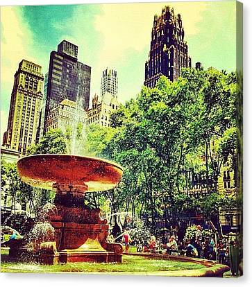 Summer In Bryant Park Canvas Print by Luke Kingma
