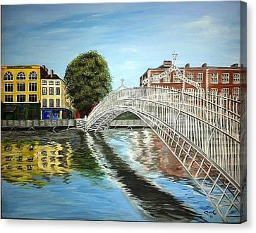 Halfpenny Bridge Canvas Print - Summer In Dublin by Pauline McCarville