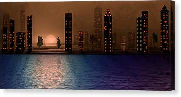Canvas Print featuring the digital art Summer In The City by David Dehner