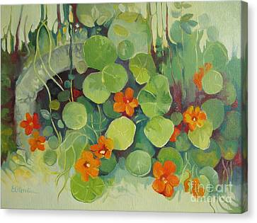 Canvas Print featuring the painting Summer In The Garden by Elena Oleniuc