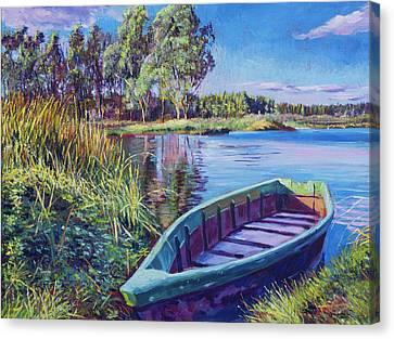 Rowboat Canvas Print - Summer Lake by David Lloyd Glover