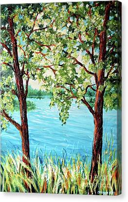 Canvas Print featuring the painting Summer Lake View by Inese Poga