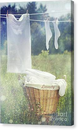 Summer Laundry Drying On Clothesline Canvas Print by Sandra Cunningham