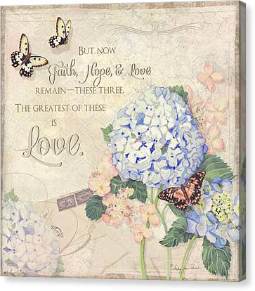 Bible Verse Canvas Print - Summer Memories - Blue Hydrangea N Butterflies Faith Hope And Love by Audrey Jeanne Roberts
