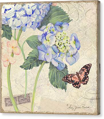 Summer Memories - Blue Hydrangea N Butterfly Canvas Print by Audrey Jeanne Roberts