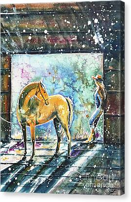 Canvas Print featuring the painting Summer Morning At The Barn by Zaira Dzhaubaeva