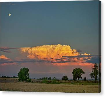 Canvas Print featuring the photograph Summer Night Storms Brewing And Moon Above by James BO Insogna