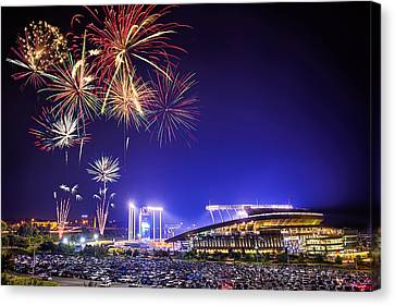 Mlb Canvas Print - Summer Nights At The K by Thomas Zimmerman