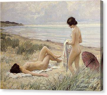 Woman Nude Canvas Print - Summer On The Beach by Paul Fischer