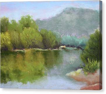 Canvas Print featuring the painting Summer On The River by Nancy Jolley