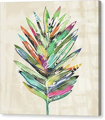 Canvas Print featuring the mixed media Summer Palm Leaf- Art By Linda Woods by Linda Woods