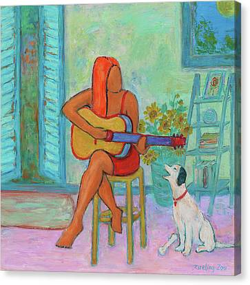 Canvas Print featuring the painting Summer Serenade II by Xueling Zou