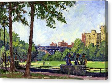 Summer Shade Baseball Fields At Inwood Nyc 8x12 Plein Air Impressionist Oil On Panel Canvas Print by Thor Wickstrom