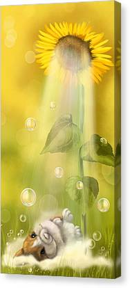 Digital Sunflower Canvas Print - Summer Shower by Veronica Minozzi