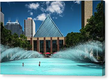 Canvas Print featuring the photograph Summer Splash Downtown Edmonton by Darcy Michaelchuk