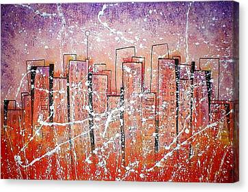 Summer Squall Cityscape Canvas Print by Vera Bean