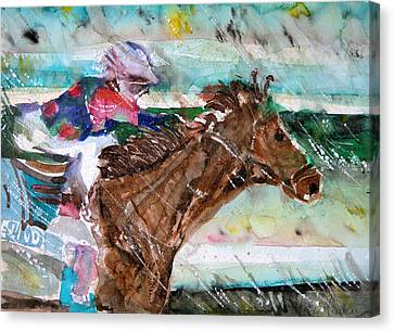 Summer Squall Horse Racing Canvas Print by Mindy Newman
