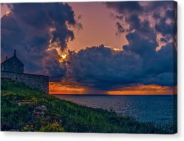 Summer Squall St Ives. A Summer Storm Passes Along The Cornish Coast At St Ives. A  Canvas Print by Lee Thornberry