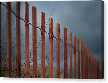 Canvas Print featuring the photograph Summer Storm Beach Fence by Laura Fasulo