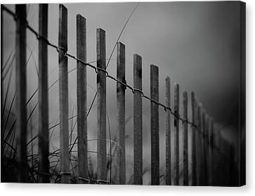 Canvas Print featuring the photograph Summer Storm Beach Fence Mono by Laura Fasulo