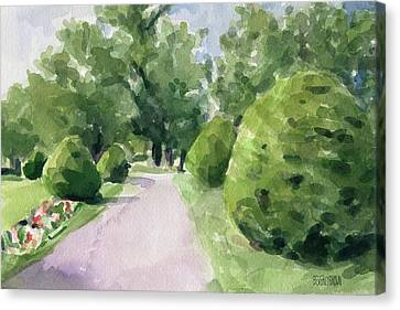 Relaxed Canvas Print - Summer Stroll Boston Public Garden by Beverly Brown