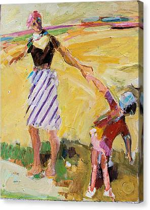 Canvas Print featuring the painting Summer Sun  Mother And Child by Diane Ursin