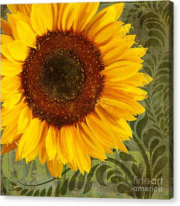 Summer Sun Verdant Afternoon Sunflower Garden Canvas Print by Tina Lavoie