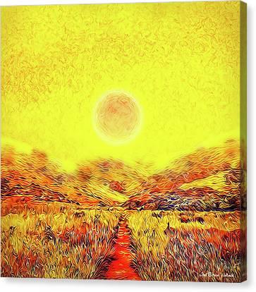 Canvas Print featuring the digital art Summer Sunset Field - Trail In Marin California by Joel Bruce Wallach