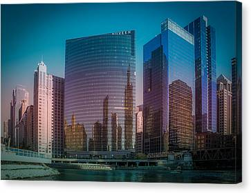 Chicago River Canvas Print - Summer Sunset In Chicago Downtown  by Art Spectrum