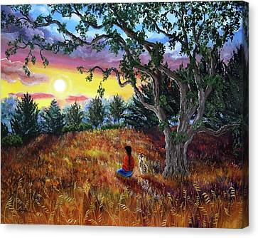 Summer Sunset Meditation Canvas Print by Laura Iverson