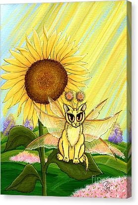 Summer Sunshine Fairy Cat Canvas Print by Carrie Hawks