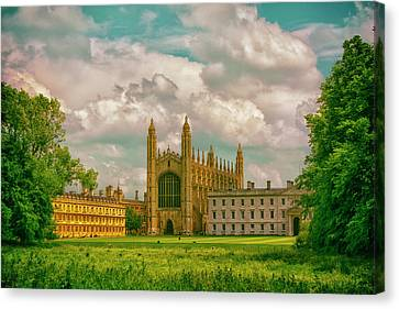 Blue Skies Fall On Kings College,cambridge  Canvas Print