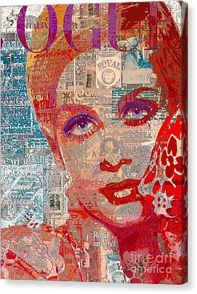 Twiggy Canvas Print - Summer Vogue Chic by Sara Sutton