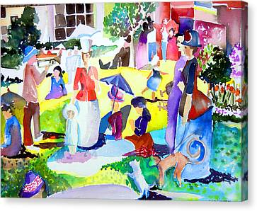 Summer With In The Park With George Canvas Print by Mindy Newman