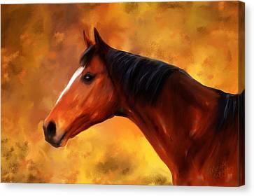 Summers End Quarter Horse Painting Canvas Print