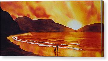 Summers-sunset Canvas Print by Nancy Newman