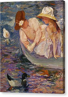 Canvas Print featuring the painting Summertime By Mary Cassatt 1894 by Movie Poster Prints