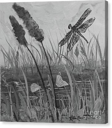 Canvas Print featuring the painting Summertime Dragonfly Black And White by Robin Maria Pedrero