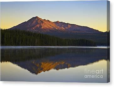 Mountain Reflection Lake Summit Mirror Canvas Print - Summit Lake And Diamond Peak by Greg Vaughn - Printscapes