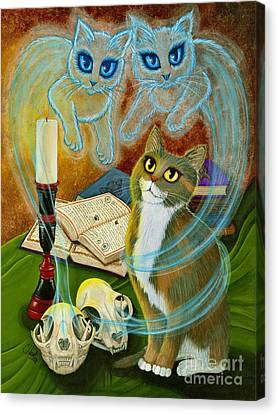 Canvas Print featuring the painting Summoning Old Friends - Ghost Cats Magic by Carrie Hawks