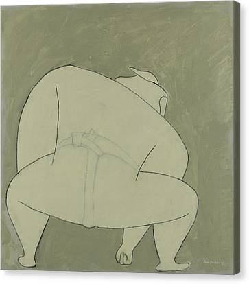 Canvas Print featuring the painting Sumo Wrestler by Ben Gertsberg
