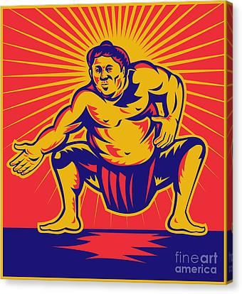 Sumo Wrestler Crouching Retro Woodcut Canvas Print by Aloysius Patrimonio