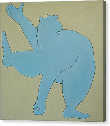 Canvas Print featuring the painting Sumo Wrestler In Blue by Ben Gertsberg