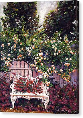 Fence Canvas Print - Sumptous Cascading Roses by David Lloyd Glover