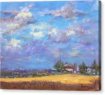 Corn Canvas Print - Sun And Clouds Georgetown  by Ylli Haruni