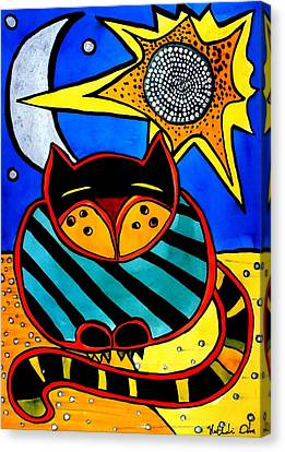 Canvas Print featuring the painting Sun And Moon - Honourable Cat - Art By Dora Hathazi Mendes by Dora Hathazi Mendes